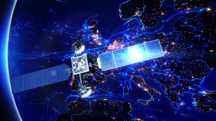 Satellite sending signals to Earth. Europe. Animation of the Earth with bright connections and city lights. Aerial, maritime, ground routes and country borders. 2 shots in 1 video. Blue.   Shutterstock HD Video #11728565