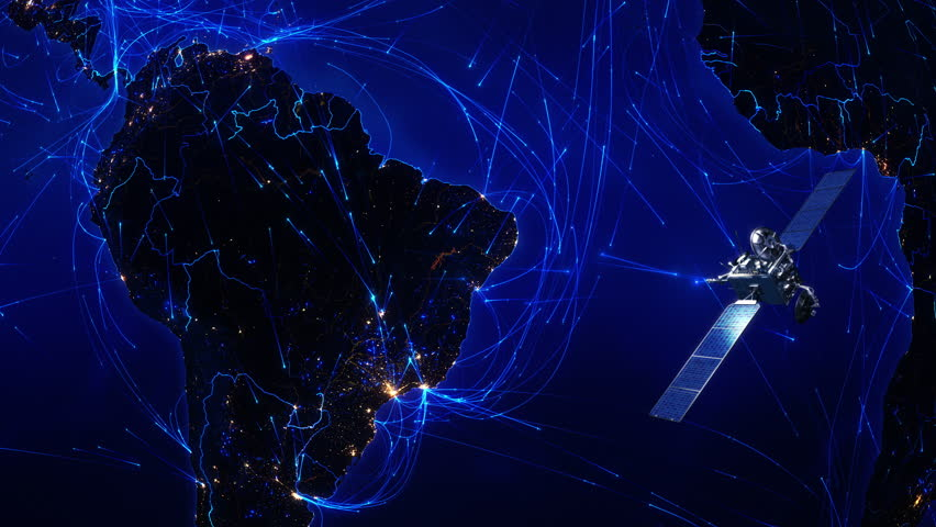 Satellite sending signals to Earth. South America. Animation of the Earth with bright connections and city lights. Aerial, maritime, ground routes and country borders. 2 shots in 1 file. Blue.