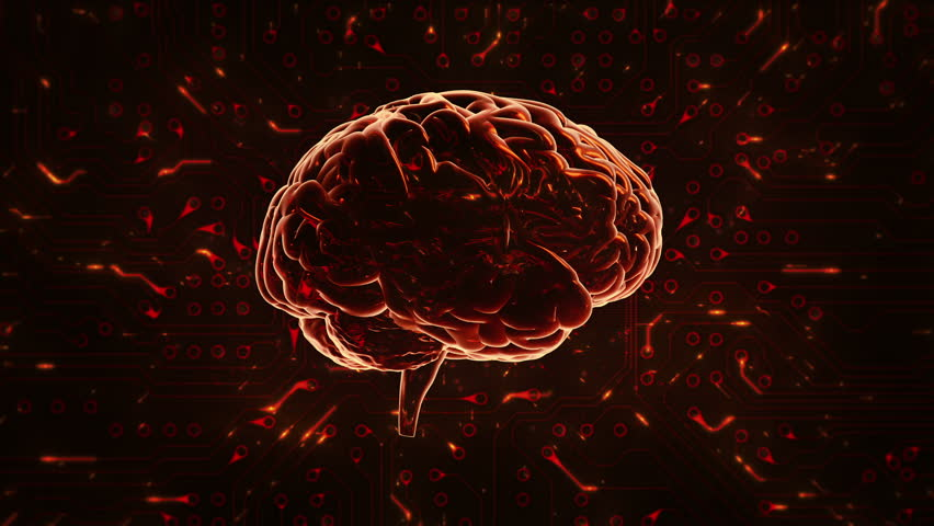 Spinning brain with circuit board background. Loopable. Orange and green. Technology. More options in my portfolio.