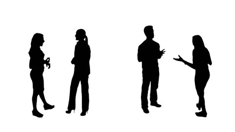 Casual people silhouettes talking. 4 in 1. Couples. More options in my portfolio.
