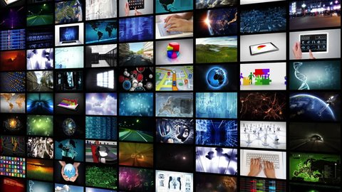 Video wall. Lateral and High view. 2 in 1 file. Selection of screens showing multiple themed videos. Each video is loopable. More options in my portfolio.