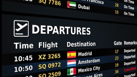 Airport departure board. Black and Blue. 2 videos in 1 file. Airport departure board showing time, flight number, city and country flag of the flight. Lateral and frontal view. Loopable.