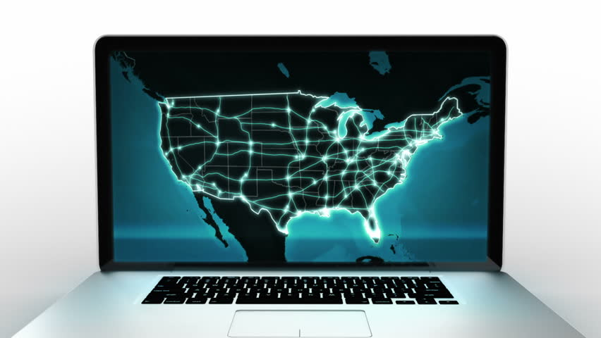 Laptop animation. Spinning. Blue US map video on the screen. 2 videos in 1 file. Highly detailed aluminum laptop spinning and opening over white background.   Shutterstock HD Video #11745230