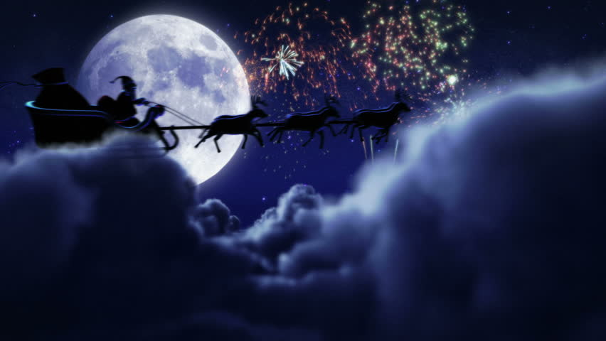 Santa flying with fireworks over full moon. 2 videos in 1 file. Santa Claus and his reindeers flying in the sky with fireworks. | Shutterstock HD Video #11746979
