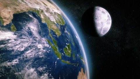 South-east Asia seen from space. 3 videos in 1 file. Highly detailed animation of the Earth seen from space. Earth map based on images courtesy of: NASA http://www.nasa.gov.