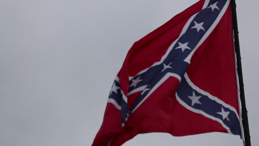 Closeup of Confederate/Rebel Flag Waving in the Breeze