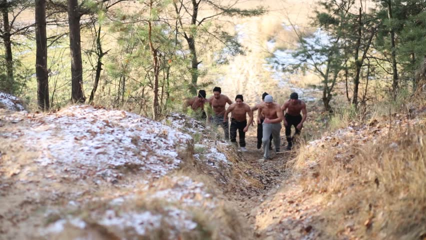 Six Half-Naked Young Men Run In Forest Near Lake At Autumn Stock Footage Video -1375