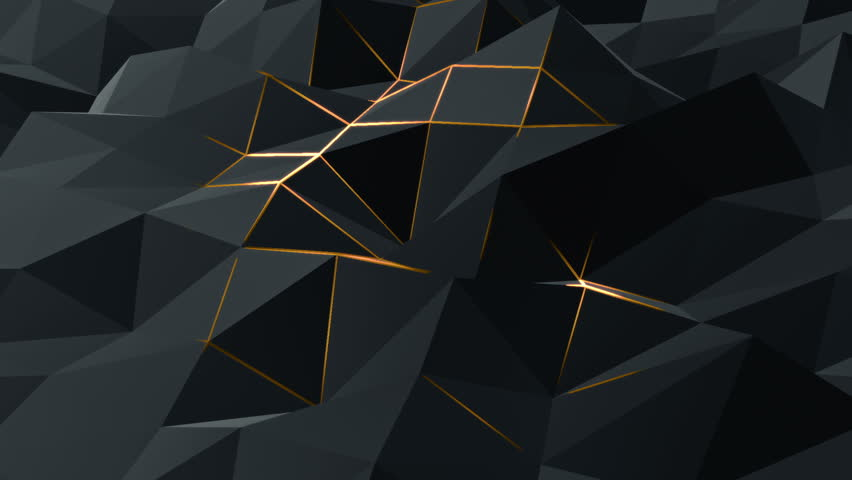 Abstract background with animation moving of dark triangles with glowing track of lava on their surfaces. Technologic backdrop with plastic surface with neon stripes. Animation of seamless loop. | Shutterstock HD Video #11773709