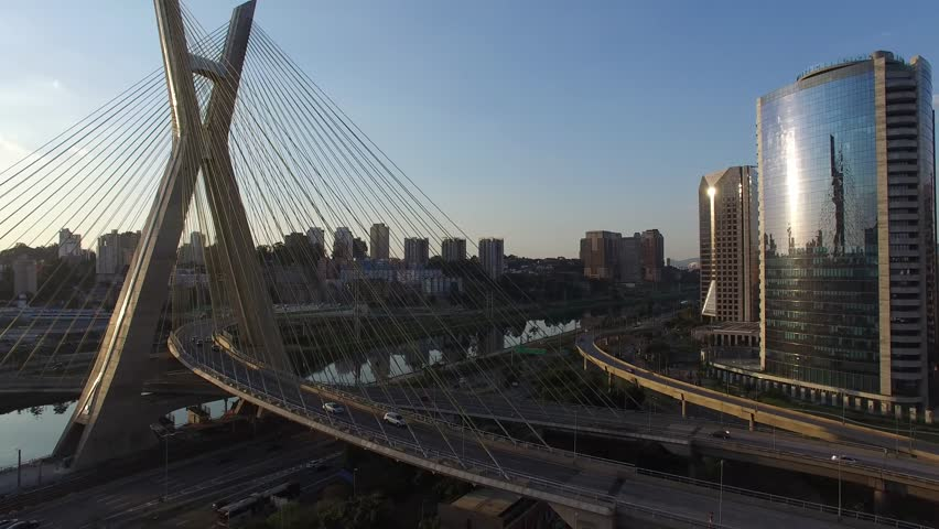 Aerial view of Sao Paulo bridge located in Marginal Pinheiros in Sao Paulo, Brazil | Shutterstock HD Video #11800538