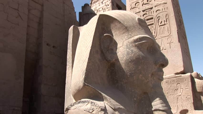 Video footage of the Luxor Temple in Egypt with a Obelisk