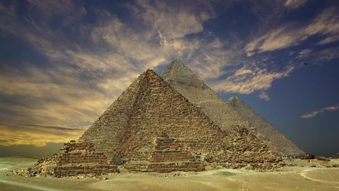 Timelapse with sunset clouds over great pyramids at Giza Cairo in Egypt, 4k