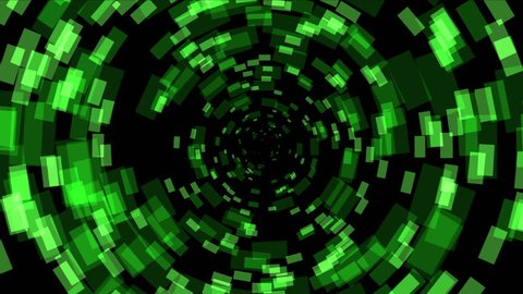4k Green square array background,tech Science fiction tunnel hole energy space channel backdrop. 1701_4k