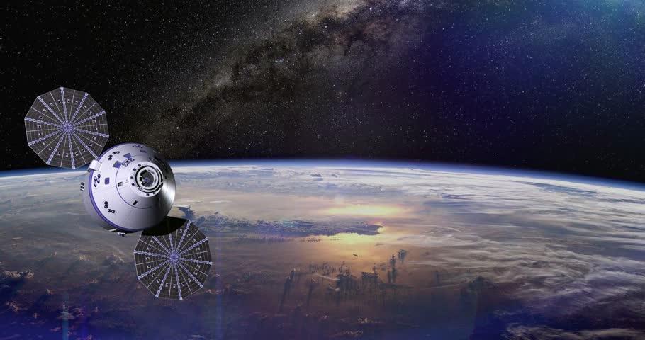 4k Modern navigation satellite orbiting the Earth | Shutterstock HD Video #11826551