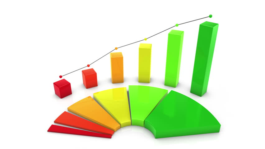 Color Bar and Pie Chart. business chart animation rises to show growth
