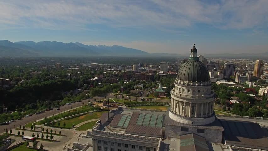 Aerial video of Salt Lake City, Utah. Capitol Building.