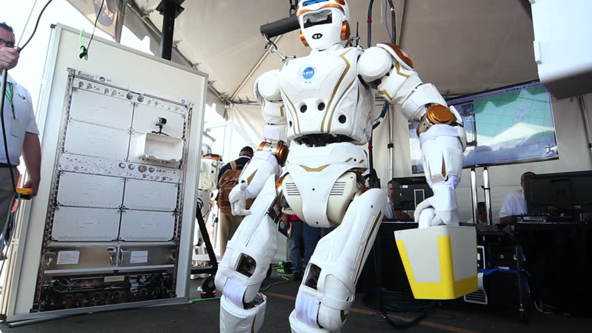 "POMONA, CA - JUNE 6: NASA Johnson Space Center show off ""Valkyrie"" at the DARPA Robotics Challenge in Pomona, CA on June 6, 2015. The female robot is a testbed for future robots headed to Mars."
