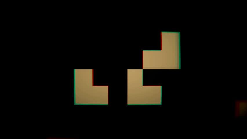 Old school pixels animation flickering on black background