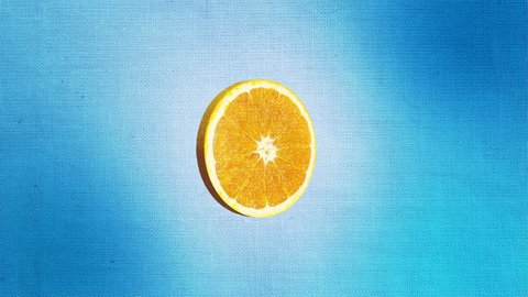 Orange Vintage Fruit on blue background with Retro Filter and Paper Texture rotating with stop motion cartoon effect animation from **Vintage Fruits Collection**.