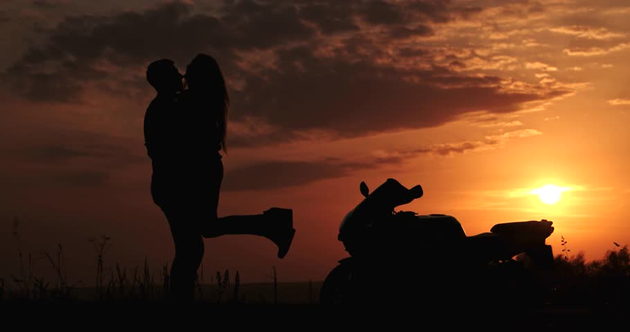 Kissing romantic couple in love Sunset