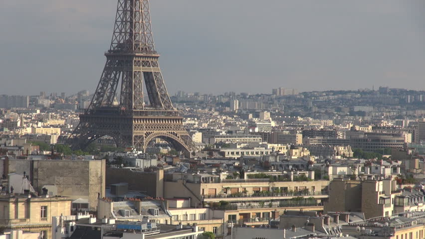 Aerial view of Eiffel Tower silhouette by day, Paris cityscape and building  architecture | Shutterstock HD Video #11947721