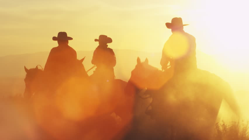 Cowboys galloping into dusk. Lens flare is visible. #11965031