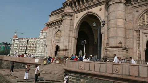 Mumbai, India: September 29,2015: 4K footage of Gateway of India and Hotel Taj Mahal Palace, shot from a Ferry boat on September 29, 2015.