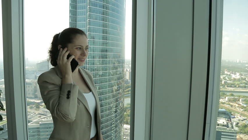 3a0ed46cbe91 Business Girl Talking On the Stock Footage Video (100% Royalty-free ...
