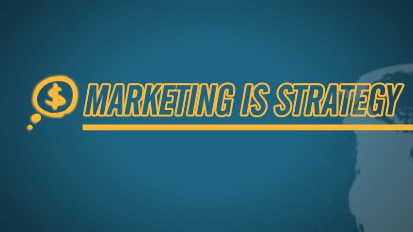 Marketing is Strategy video illustration on blue in HD    Shutterstock HD Video #1201951