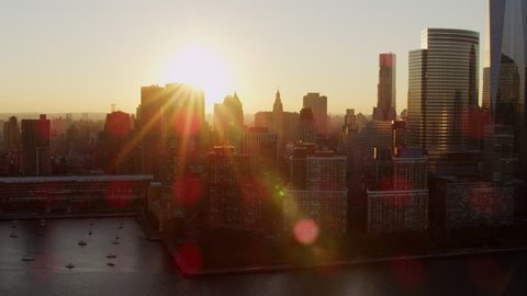 Aerial sunrise New York City skyline view of Manhattan.