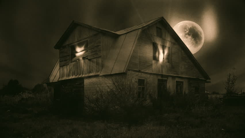 Haunted Mansion Scene, Full Moon, Magic Light, Dark Clouds, Seamless Looping Video. Ideal for Halloween. Could be used as a Motion Background or a Web banner. Sepia tone old horror movie style. | Shutterstock HD Video #12063461