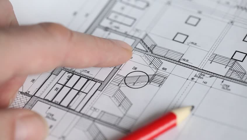Architectural plan blueprint pointing with red pencil stock architectural plan blueprint pointing with hand hd stock video clip malvernweather Choice Image