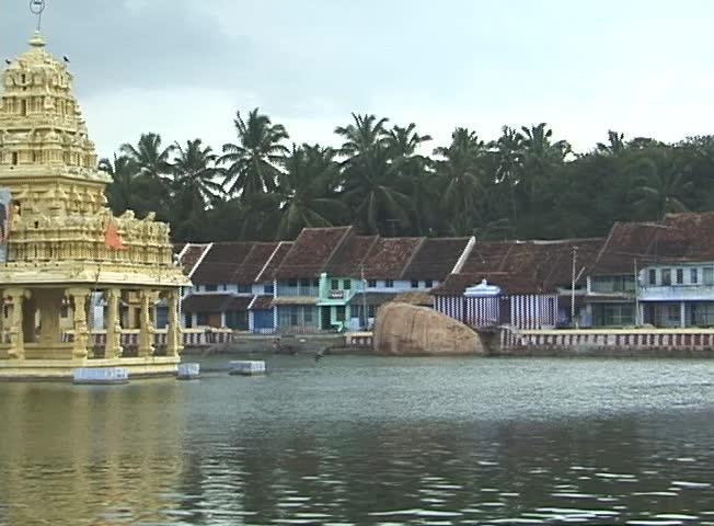 A temple tank in Tamil Nadu, India.