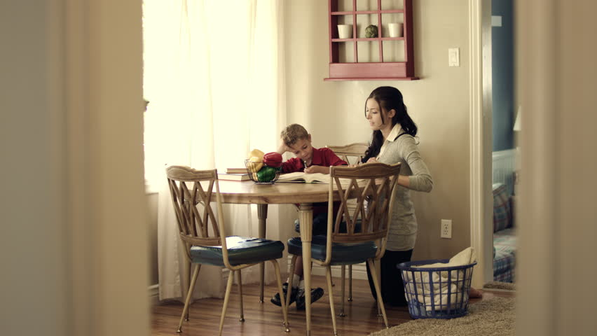 Mother and child at kitchen table studying.
