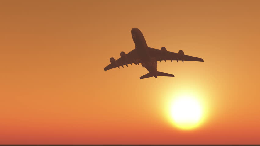4k airplane flying over head at sunset or sunrise. cg_03107_4k