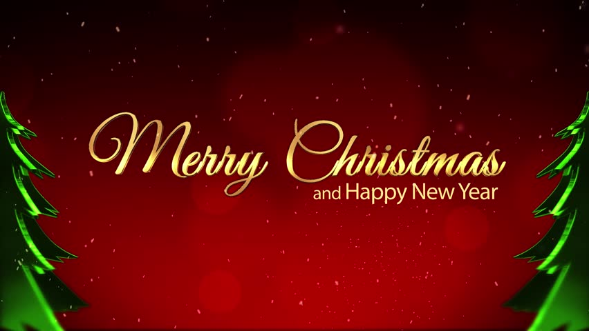 Merry Christmas And New Year Red Sparkling Background Xmas Trees ...