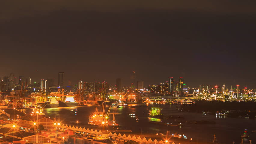 Time lapse The port of Bangkok City in Thailand | Shutterstock HD Video #12123071