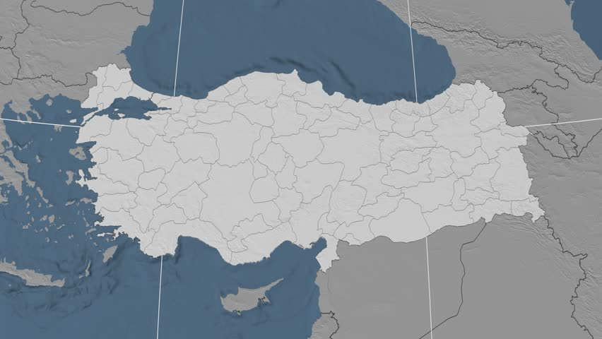 Edirne Region Extruded On The Elevation Map Of Turkey Elevation