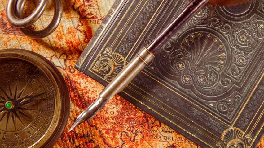 Islamic art binding quran stock footage video 5356820 shutterstock vintage book compass telescope and a pocket watch lying on ancient world map in gumiabroncs Choice Image