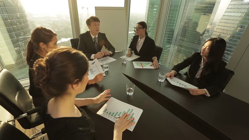 Top Manager introduces colleagues with new employees four young and attractive women. | Shutterstock HD Video #12158531
