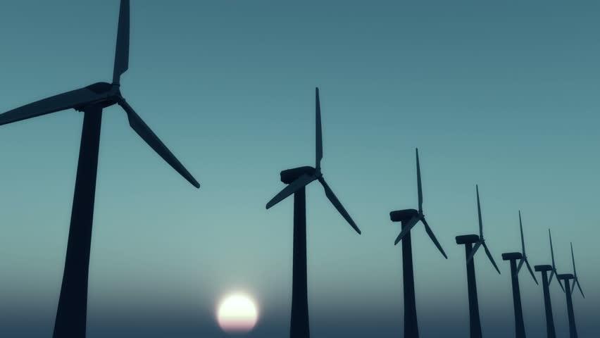4k Windmill Turbines Clean At Sunrise,Green Wind Energy,new power energy. cg_03008_4k
