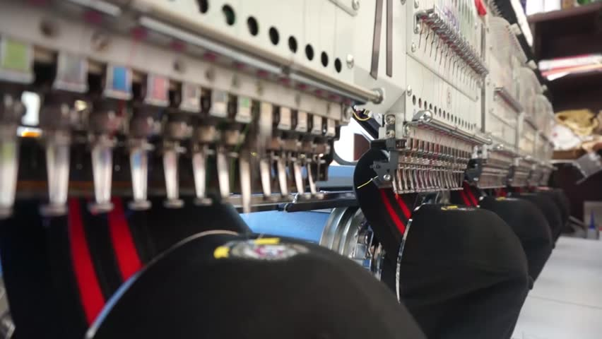 Industrial Embroidery Machine Embroidering Hat | Shutterstock HD Video #12198431
