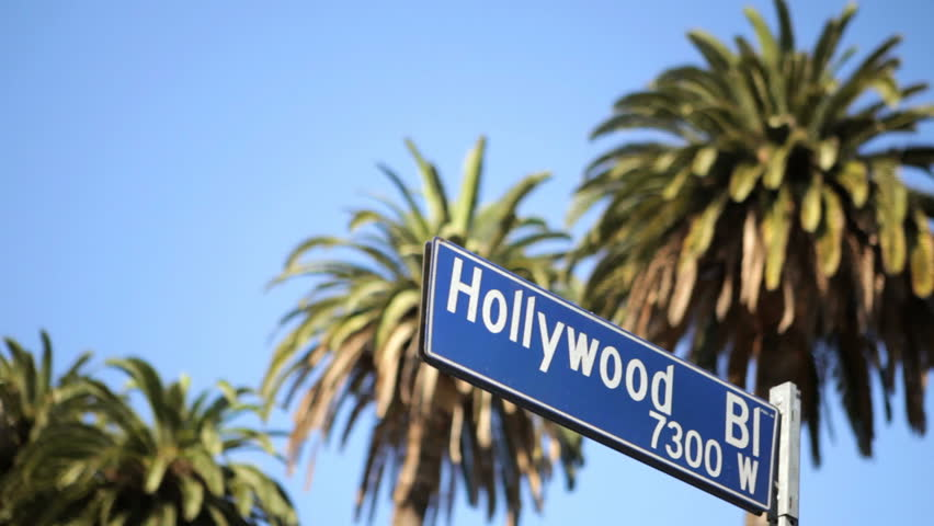Street Sign For Hollywood Boulevard Palm Trees
