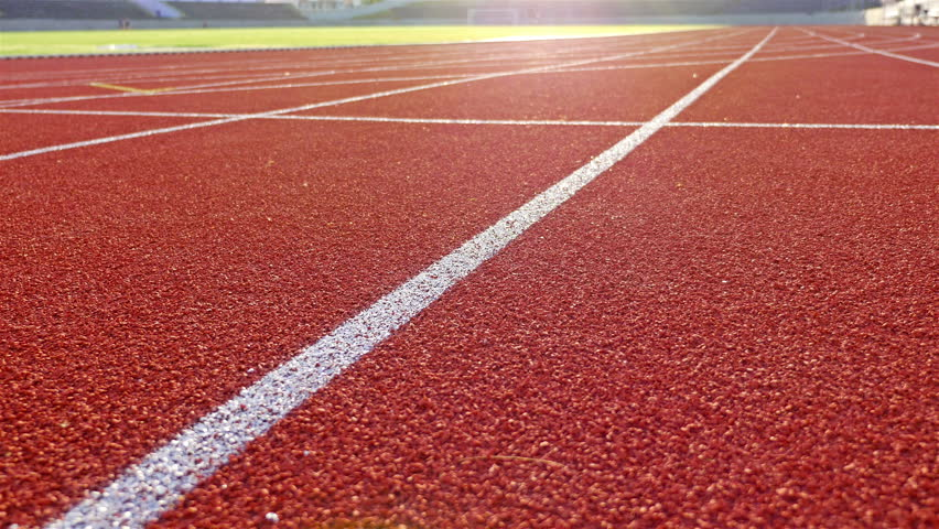 Running track with lanes on a stadium, dolly