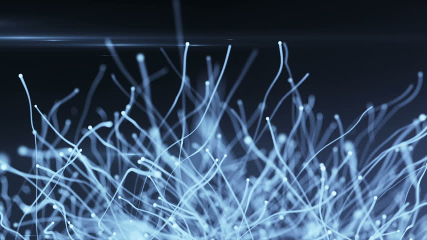 Abstract background with glowing particles and light lines.  Animation rotation of optical fiber wires. Animation of seamless loop.