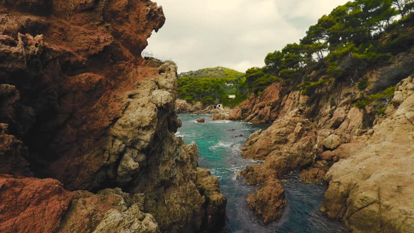 Aerial shot mediterranean coast, Cap Roig