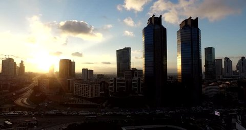 Airview of Skyscrapers in Istanbul Sunset, Turkey