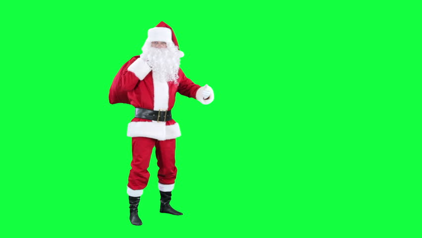 Santa Claus with gift bag chroma key (green screen). Santa is carries a red sack of presents behind him isolated on green #12248201