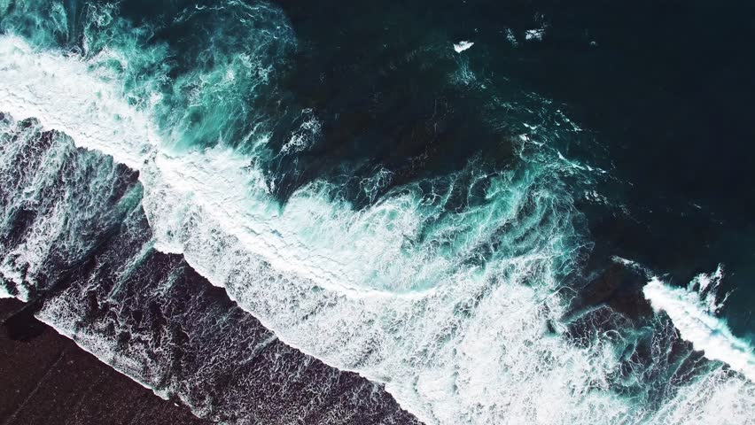 High waves in ocean. Giant Blue Ocean Waves in Indonesia, Bali. Aerial view. #12250811