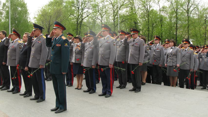 MOSCOW - MAY 8: (Timelapse view) Officers of Ministry of Internal Affairs conduct the wreath-laying ceremony on the eve of Victory Day, May 8, 2011 in Moscow, Russia. The ceremony pays homage to soldiers who sacrificed themselves in the Great Patriotic Wa