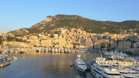 Monaco - June 2015: Aerial Drone Monte Carlo sunset Europe yacht Architecture building casino success transport luxury travel